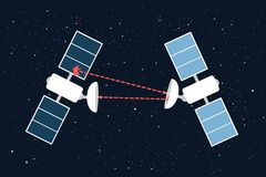 Space war - military armed conflict between two satellites royalty free stock photo