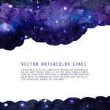 Space watercolor background with stars. Vector layout with copyspace. Stock Photos
