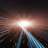 Space White Star. An abstract perspective horizon background, containing a futuristic speed lights through space and time. A dark technology backdrop with blue Stock Photos