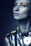 Space woman in dark royalty free stock photography
