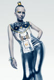 Space woman in shiny silver costume Royalty Free Stock Images