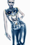 Space woman in silver costume in light Stock Photo