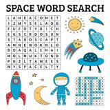 Space word search game for kids stock illustration