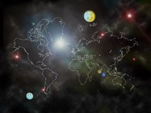 Space through world map Stock Photos