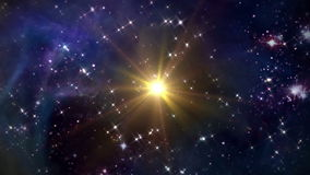 Space with yellow star. The mystery of stars glowing in space night stock footage