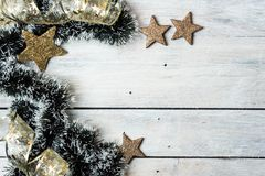 Space for your Christmas wishes. Bright, gold - white Christmas background with space for wishes or text stock photography
