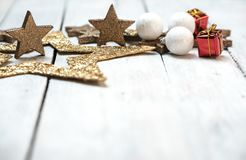 Space for your Christmas wishes. Bright, gold - white Christmas background with space for wishes or text royalty free stock photos