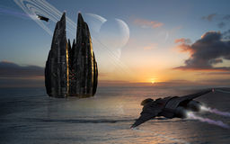 Spacebase on a sea planet. View of two spaceships arriving to a space base constructed on the sea in a far alien planet Royalty Free Stock Photos