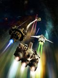 Spacechip chase. Several big spaceships pursuing a small one and firing against him through space Stock Photo