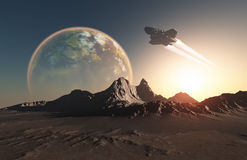 Spacecraft. Over the mountainous terrain of the planet Stock Images