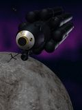 Spacecraft. Illustration (3d render) of fantasy spacecraft and moon vector illustration