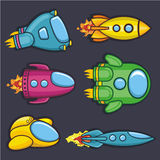 Spacecraft. A vector illustration of a collection of colorful rockets icons royalty free illustration