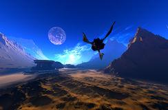 Spacecraft. Over the mountainous terrain of the planet Royalty Free Stock Image