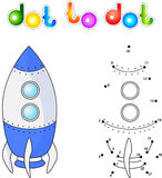 Spacecraft or aerospace vehicle. Connect dots and get image. Edu. Cational game for kids. Vector illustration Stock Images