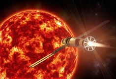 A spacecraft approaching the sun. 3D rendering of a spacecraft approaching the sun vector illustration