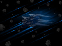 Spacecraft in battle through asteroids. Against black background Stock Image