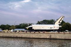 Spacecraft Buran in Gorky Park on the bank of the Moskva River Stock Photos