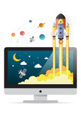 Spacecraft crashes outside monitor screen.Concept of business. Start-up.paper art Stock Image