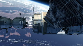 Spacecraft Docking To Space Station stock footage