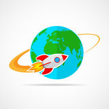 The spacecraft flies around the Globe Earth. Vector Illustration. The spacecraft flies around the Earth. Colored space rocket with Globe Earth in flat design Stock Images