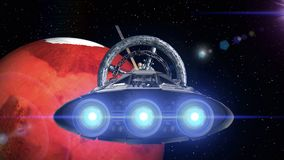 Mars in the backdrop. Spacecraft flies out of the tunnel. Spacecraft flying into space station door, 3d animation. Spacecraft flies out of the tunnel on stock footage