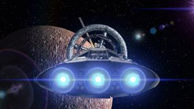 Mercury in the backdrop. Spacecraft flies out of the tunnel. Spacecraft flying into a space station door, 3d animation. Spacecraft flies out of the tunnel on stock footage