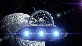 Moon in the backdrop. Spacecraft flies out of the tunnel. Spacecraft flying into a space station door, 3d animation. Spacecraft flies out of the tunnel on stock video