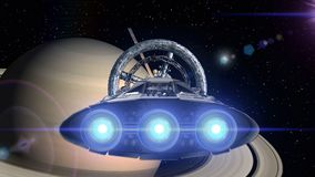 Saturn in the backdrop. Spacecraft flies out of the tunnel. Spacecraft flying into space station door, 3d animation. Spacecraft flies out of the tunnel on stock video
