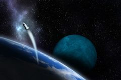 Spacecraft flying near unknown planet. Space exploration. 3d illustration stock illustration