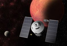 Spacecraft flying to vibrant outer space with stars, nebula and planets.  stock illustration