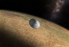 Spacecraft flying to vibrant outer space with stars, nebula and planets.  royalty free illustration
