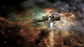 Free Spacecraft In A Deep Space On A Background Of Nebula Clouds And Galaxy Star. Royalty Free Stock Photos - 128369018