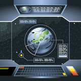 Spacecraft interior view and window to space and planet Royalty Free Stock Image