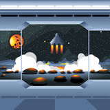 Spacecraft interior view and window to space and sun. Spaceship launch from a planet with rocks. Digital vector image Stock Image