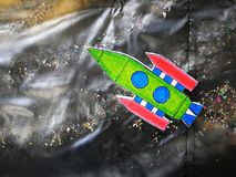Spacecraft item cartoon in student board. In workshop stock image