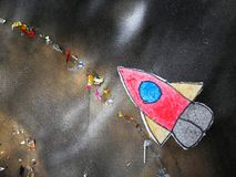Spacecraft item cartoon in student board. In workshop royalty free stock photo