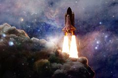 Spacecraft launch into space. Beauty of outer space. Billions of galaxies in the universe. Elements of this image furnished by NASA stock photos