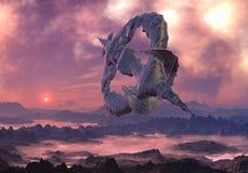 Spacecraft Leaving Uninhabited World. Alien craft in flight over hostile , mountain landscape covered with fog Stock Image