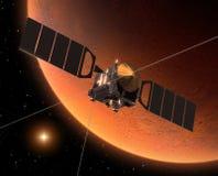 Spacecraft Mars Express Orbiting Mars. 3D Scene royalty free illustration