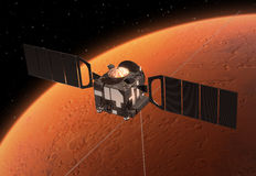 Spacecraft Mars Express Orbiting Mars. 3D Scene stock illustration
