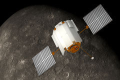 Spacecraft Messenger Orbiting Mercury. 3D Scene Stock Photography
