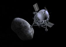 Spacecraft Mission Landing Comet Concept Illustration Stock Photo