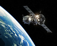 Spacecraft Orbiting Earth. Spacecraft Orbiting Planet Earth. Realistic 3D Illustration Royalty Free Stock Photography