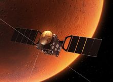 Spacecraft Orbiting Planet Mars Royalty Free Stock Photography