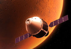 Spacecraft Orbiting Red Planet Royalty Free Stock Photography