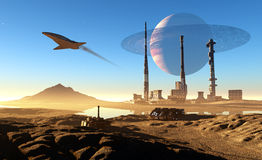 Spacecraft. Over the mountainous terrain of the planet Stock Photos