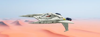 Spacecraft over a sand desert Stock Photography
