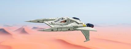 Spacecraft over a sand desert. Computer generated 3D illustration with a spacecraft over a sand desert Stock Photography
