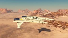 Spacecraft over a sand desert vector illustration
