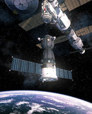 Spacecraft Is Preparing To Dock With International Space Station. 3D Illustration Stock Photos